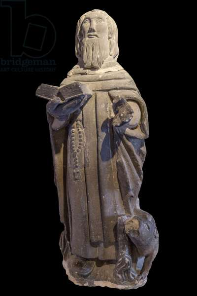 Statuette representing Saint Anthony the Great (Anthony of Egypt, Anthony the Hermit) and his pig, 15th-17th century Cistercian Monastery of Royaumont (abbey) 1228-1235 Asnieres-sur-Oise (Asnieres sur Oise), Val-d'Oise (Val d'Oise)