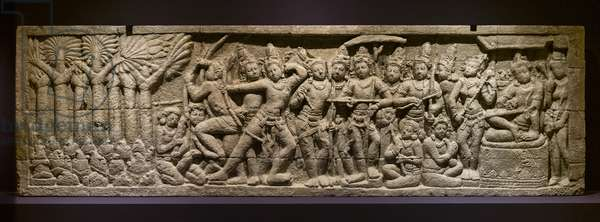 The archery test. Indonesia, Java, Boroduru. End of the 19th century (original of the 8th and 9th century). Plaster molding.