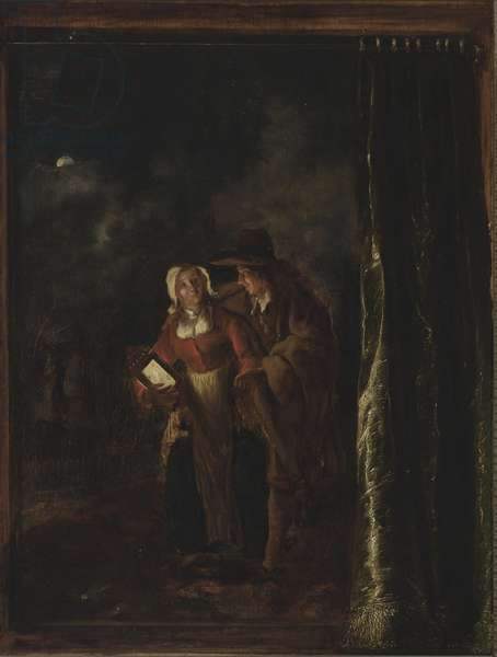 Man Caressing Woman with a Lantern, c.1651 (oil on wood)