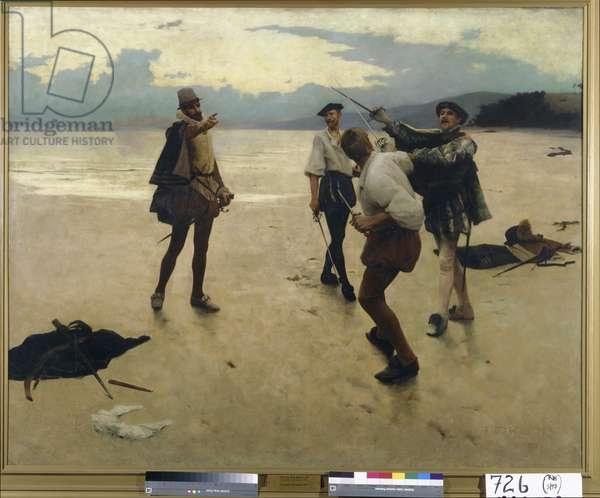 On Bideford Sands, 1889 (oil on canvas)