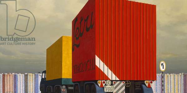 Truck and trailer approaching a city, 1973 (synthetic polymer paint on canvas)