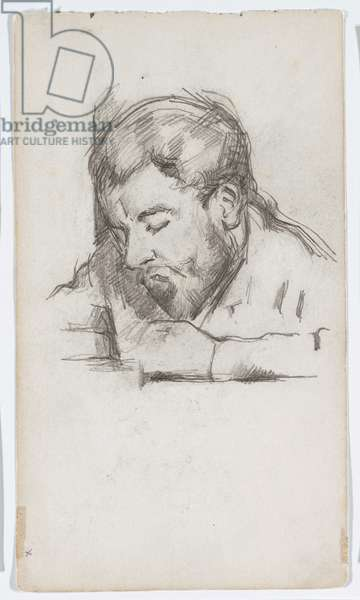 Emile Zola (1840-1902) reading, 1881-84 (pencil on paper)