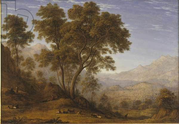 My last view of Italy, looking from the Alps over Suza, 1835 (oil on canvas)