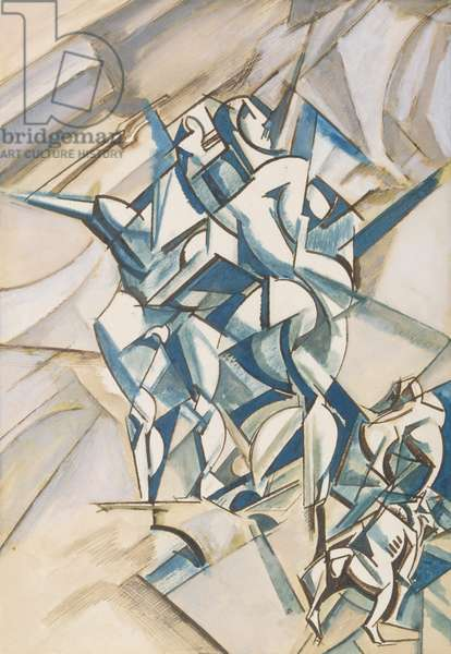 Figure composition (Man and woman with two bulldogs) 1912-13 (pen & ink, w/c and gouache on paper)