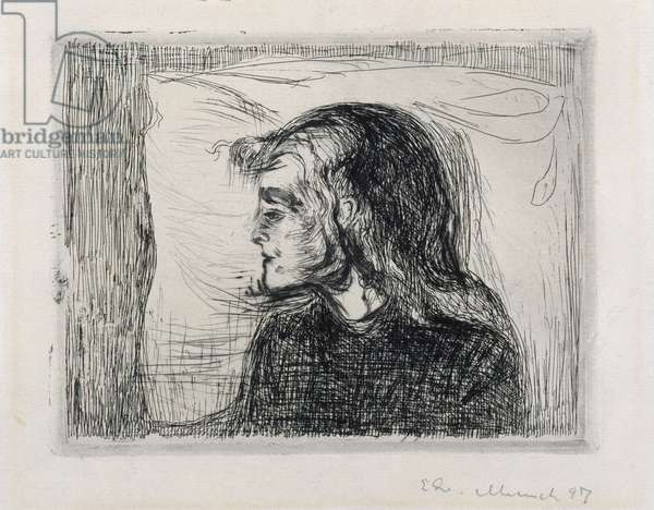 The sick girl, 1896 (etching with drypoint)