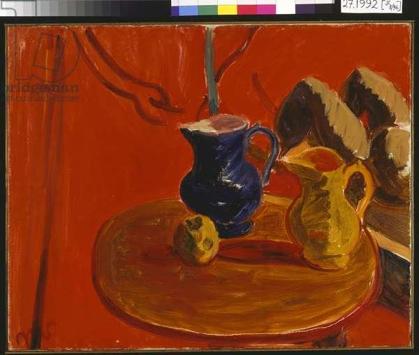 Jugs Against a Vermillion Background, c.1938-40 (oil on canvas)