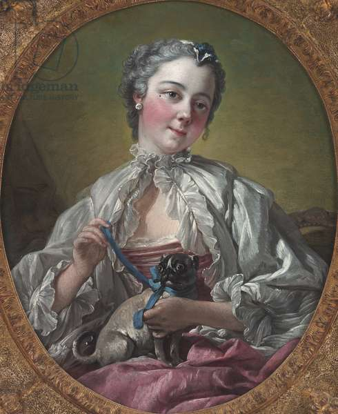 d Young Lady Holding a Pug Dog, mid 1740s (oil on canvas)