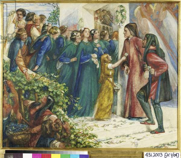 Beatrice Meeting Dante at a Marriage Feast, Denies him her Salutation, 1852 (w/c & bodycolour on paper)