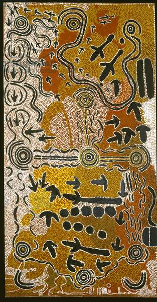 Yankiri Jukurrpa (Emu dreaming) 1986 (synthetic polymer paint on cotton duck)