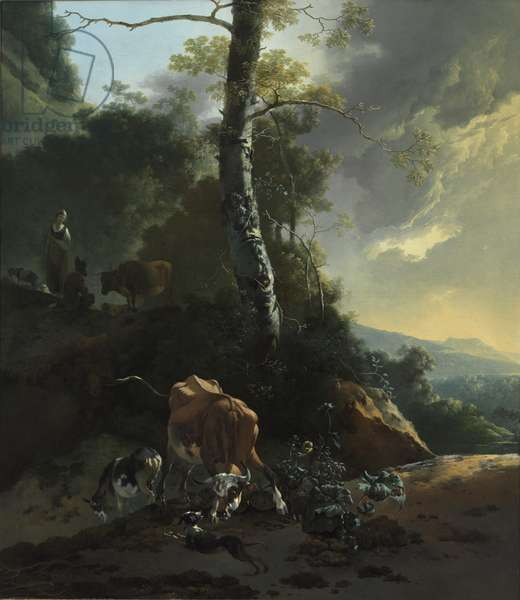 Landscape with Enraged Ox, 1665-70 (oil on canvas)