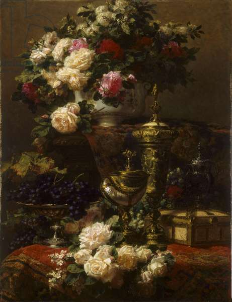 Flowers and Fruit, 1877 (oil on panel)