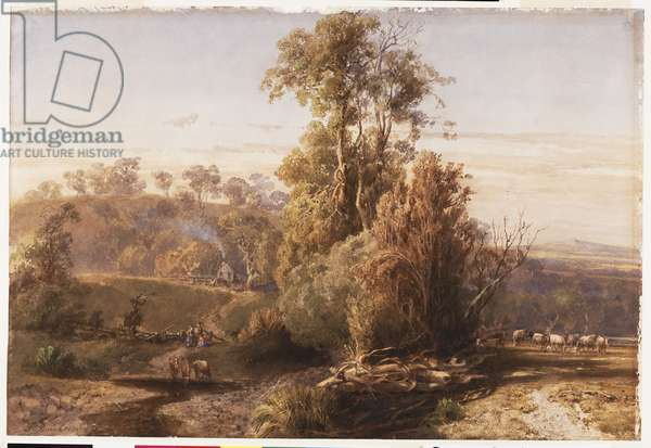 Landscape with house and figures, 1876 (pencil & w/c with white gouache scraping out on paper)