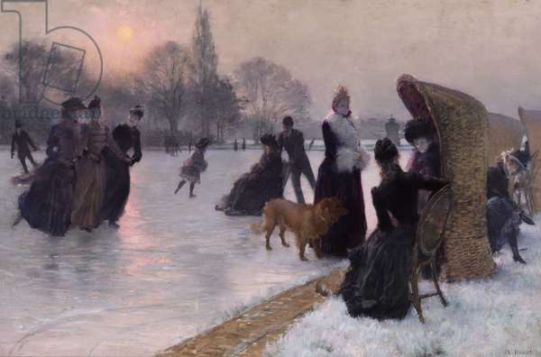 Ice Skaters (oil on canvas)