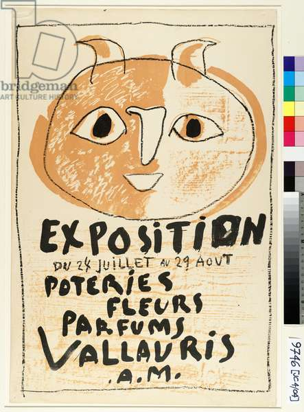 Poster for the 'Exposition Vallauris', 1952 (litho on orange paper)