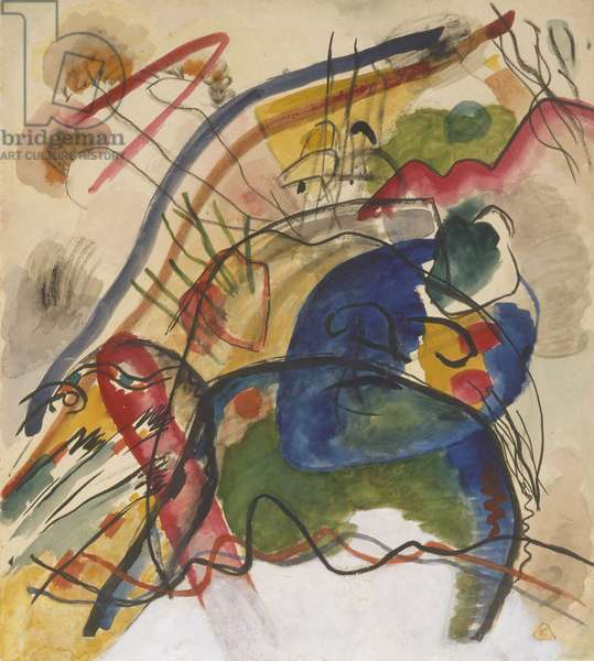 Study for 'Painting with White Border', 1913 (w/c, gouache & ink on paper)