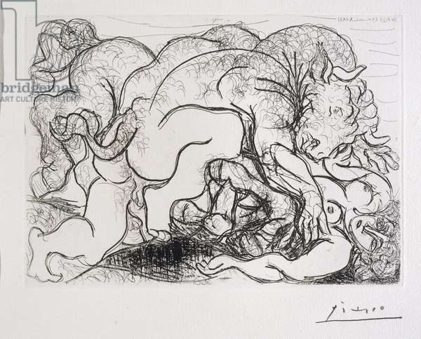 Minotaur Attacking an Amazon, 1933 (etching)