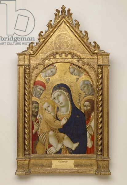 Madonna and Child with Saints Jerome, John the Baptist, Bernardino and Bartholomew (gold leaf & tempera on panel)