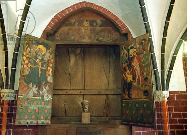 Shrine of the miracle blood in the Chapel of the Protestant Church of St Nikolai, Bad Wilsnack, Germany, 2002 (photo)
