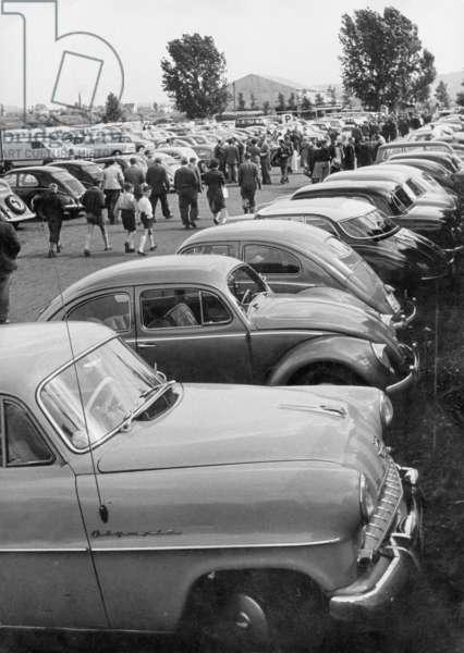 Parking area, 1957 (b/w photo)