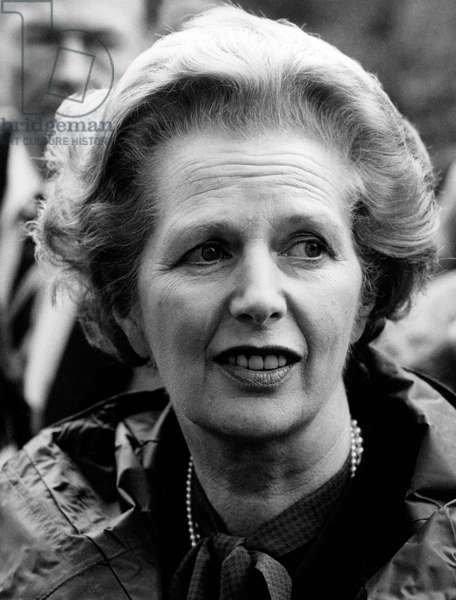 Margaret Thatcher during her first visit of the British forces in Germany, 1983 (b/w photo)
