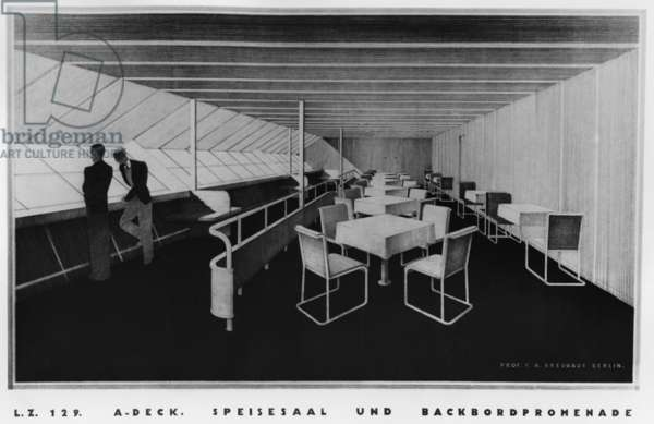 Drawing of the interior of the zeppelin LZ 129