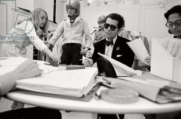 Karl Lagerfeld at work at Maison Chloe, 1972 (b/w photo)