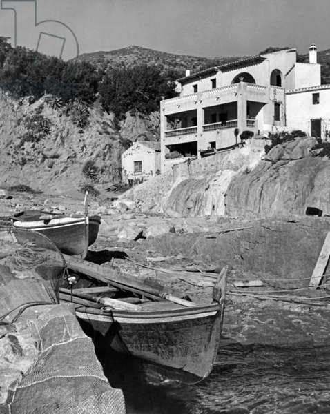 Small port in Menorca (b/w photo)