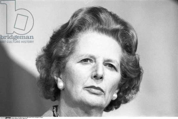 Margaret Thatcher, 1986 (b/w photo)