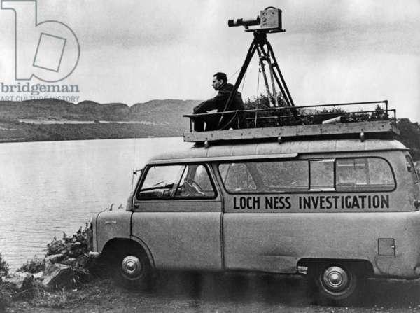 Man overlooking Loch Ness, 1968 (b/w photo)