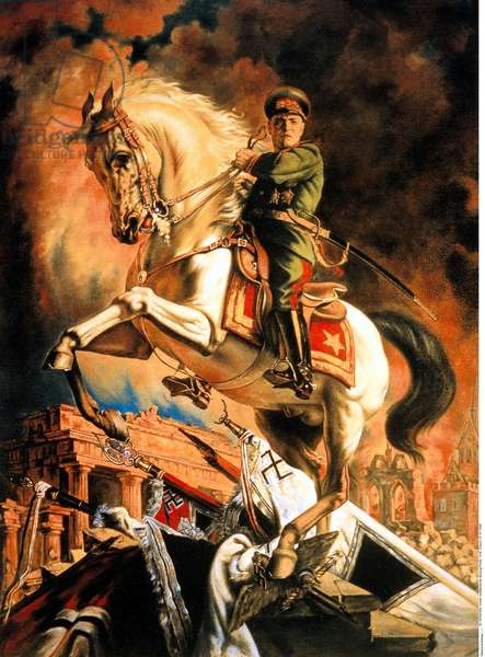 Poster showing Georgy Zhukov as an heroic figure, mounted on a white stallion in the Battle of Berlin, after 8th May 1945 (colour litho)