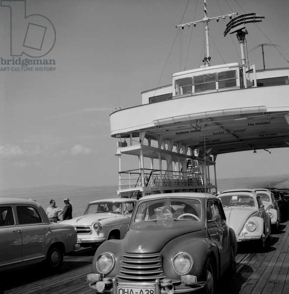 Car ferry at the Lake Contance, 1953 (b/w photo)