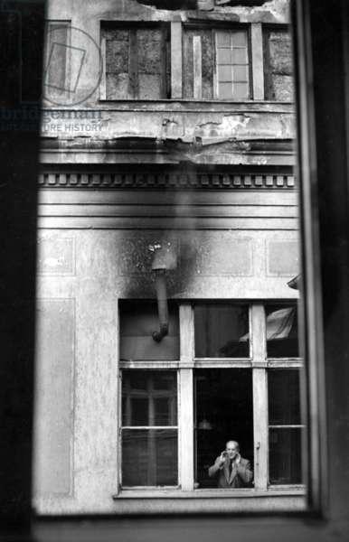 Flat in Munich, 1947 (b/w photo)