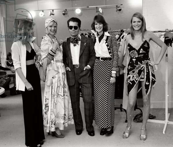 Karl Lagerfeld with models at Maison Chloe, 1972 (b/w photo)