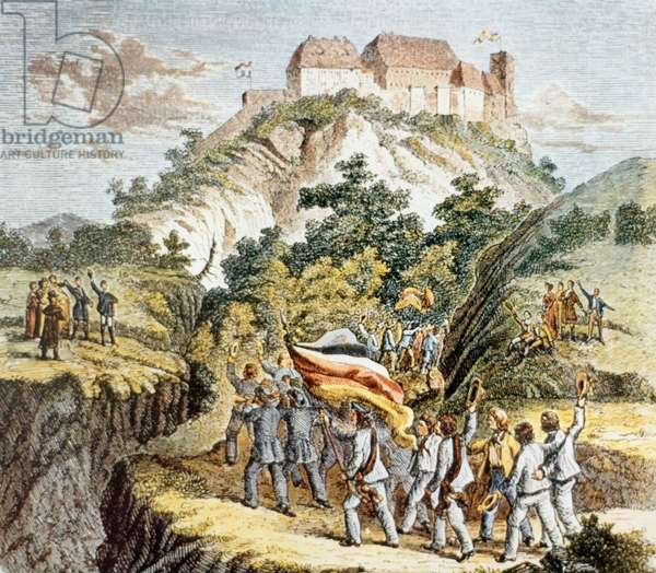 Students with black-red-gold flags march to the Wartburg Festival, to which the first student fraternity Jena (German fraternity) has invited all German students, 1817 (colour litho)