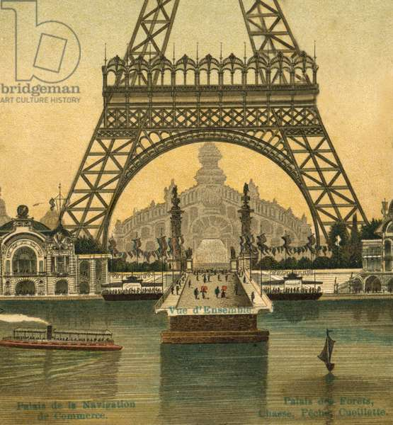 A postcard shows the area around the Eiffel Tower during the World Exposition in 1900 in Paris, 1900 (b/w photo)