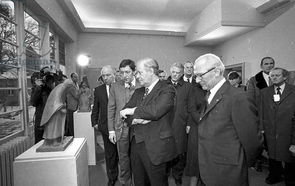 Helmut Schmidt and Erich Honecker at the Barlach memorial, Gustrow, Germany, 1981 (b/w photo)