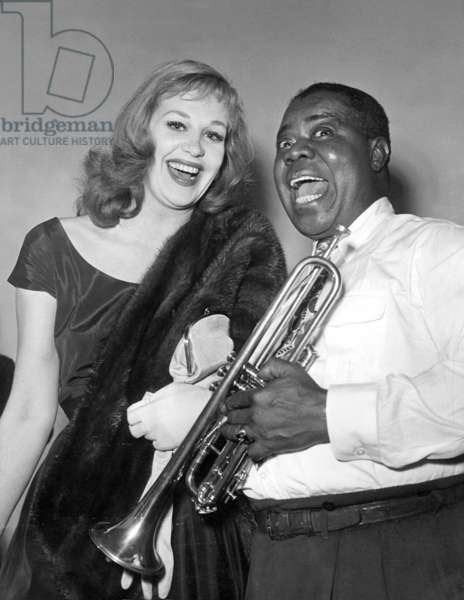 Hildegard Knef and Louis Armstrong, 1952 (b/w photo)