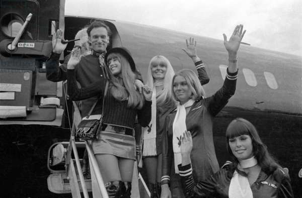 Arrival of Hugh Hefner at the Munich-Riem airport, 1970 (b/w photo)