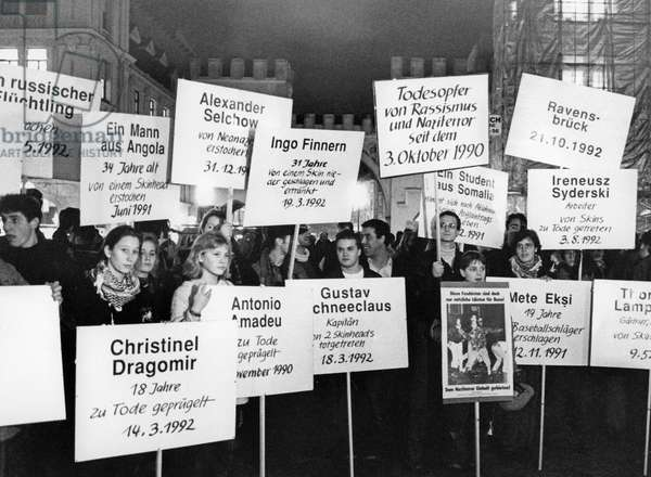 Protests against Moelln arson attack on Turkish families, Germany, 1992 (b/w photo)