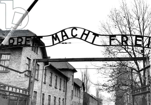 Entrance of the Auschwitz concentration camp (b/w photo)