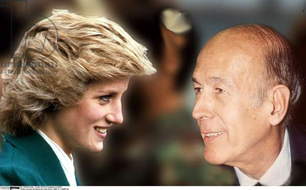 Valéry Giscard d'Estaing with Lady Diana (b/w photo)