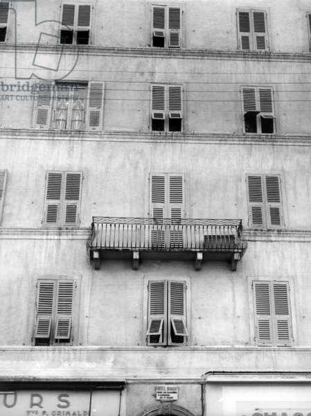 Facade of a hotel in Bastia (b/w photo)