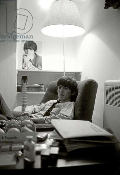 George Harrison of The Beatles during the 'Hard Day's Night' promotion camaign, 1964 (b/w photo)