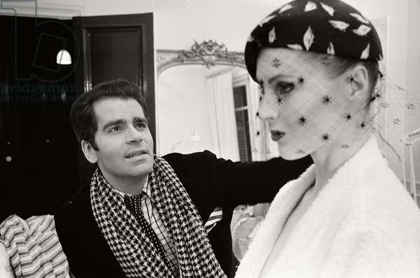 Karl Lagerfeld and his model Eija, 1972 (b/w photo)