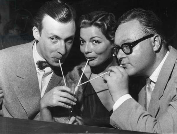 Peter Alexander, Lys Assia and M. Kasper, 1953 (b/w photo)