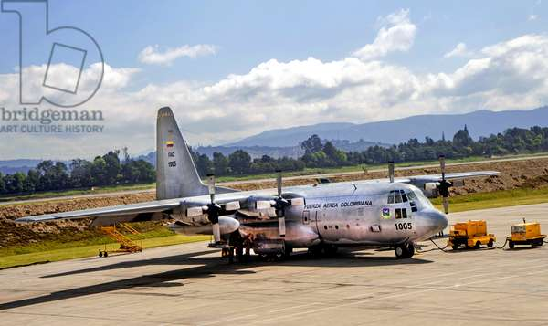 Lockheed C-130 Hercules of the Colombian Air Force at the El Dorado (El Salvador) military port in Bogota, Colombia, 13th February 2019 (photo)