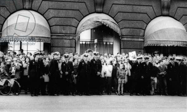 Beatles fans in Copenhagen, 1964 (b/w photo)