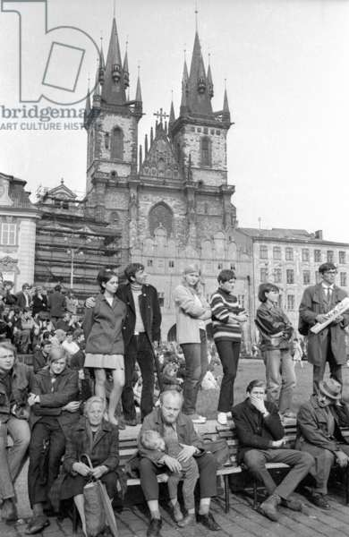 Demonstration in Prague, 1968 (b/w photo)