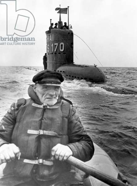 The German submarine S 170 Hai in the Baltic Sea (b/w photo)