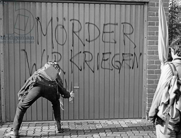 Protests against Moelln arson attacks on Turkish families, 1992 (b/w photo)